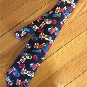 Lands End Navy Christmas Tie
